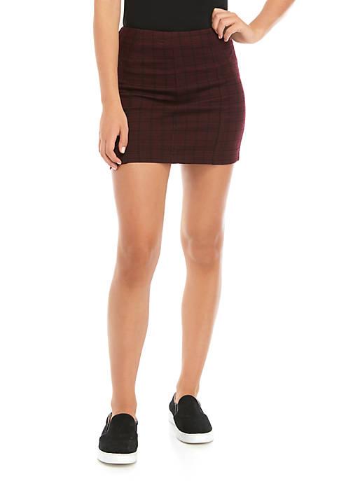 Jolt Juniors Double Knit Plaid Skirt