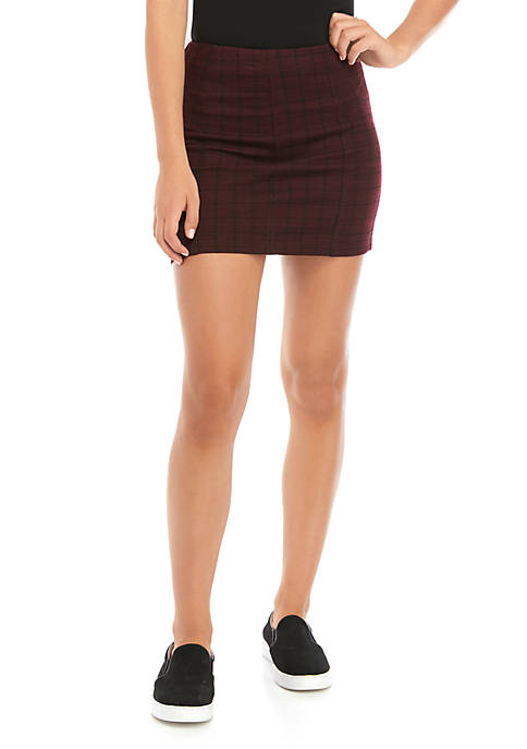 Juniors Double Knit Plaid Skirt