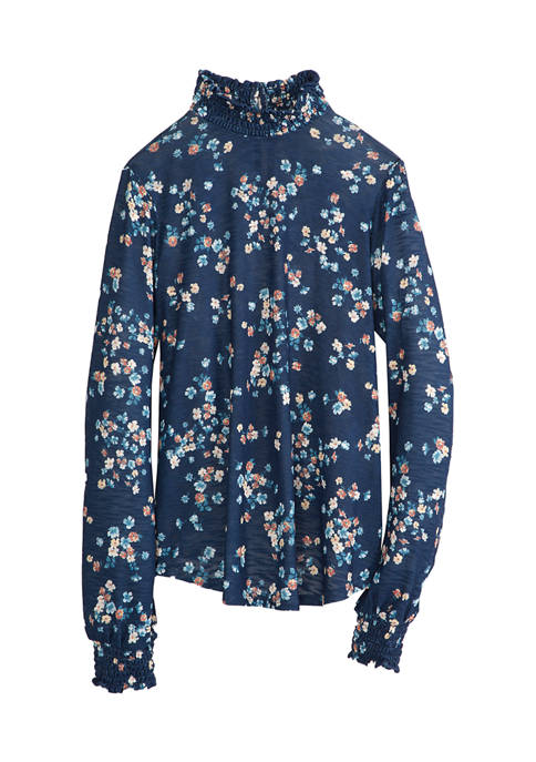 BeBop Juniors Smock Neck Floral Knit Blouse