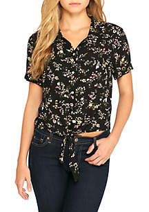Short Sleeve Tie Front Shirt