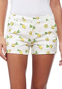 Printed Lemon Twill Short