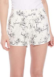 Linen Smock Waist Ivory Floral Shorts