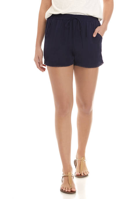 BeBop Juniors Solid Challis Pom Pom Trim Shorts