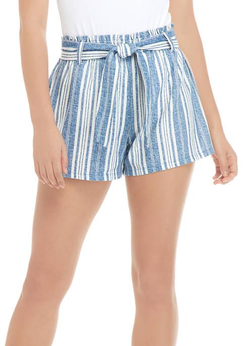 Juniors Linen Paperbag Shorts