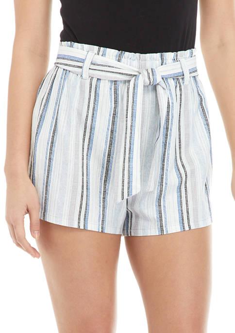 Juniors Striped Paper Bag Shorts