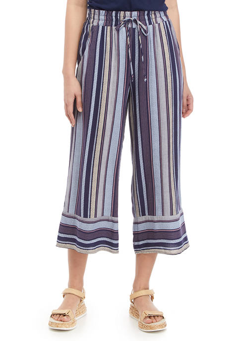 Juniors Striped Cropped Challis Pants