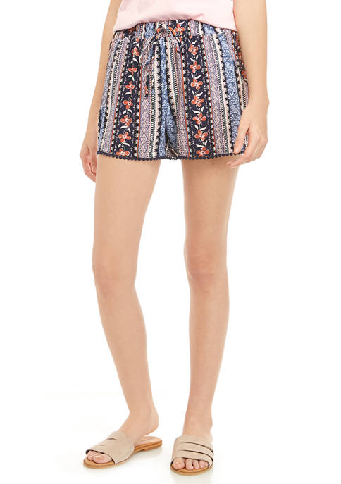 BeBop Juniors Printed Challis Pom Pom Trim Shorts