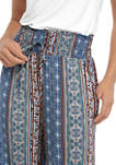 Juniors Printed Smocked Challis Pants