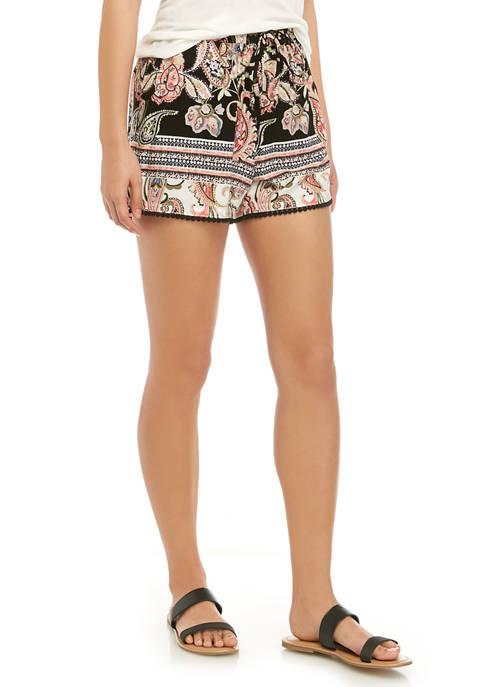 BeBop Juniors Printed Challis Pom Pom Trim Shorts