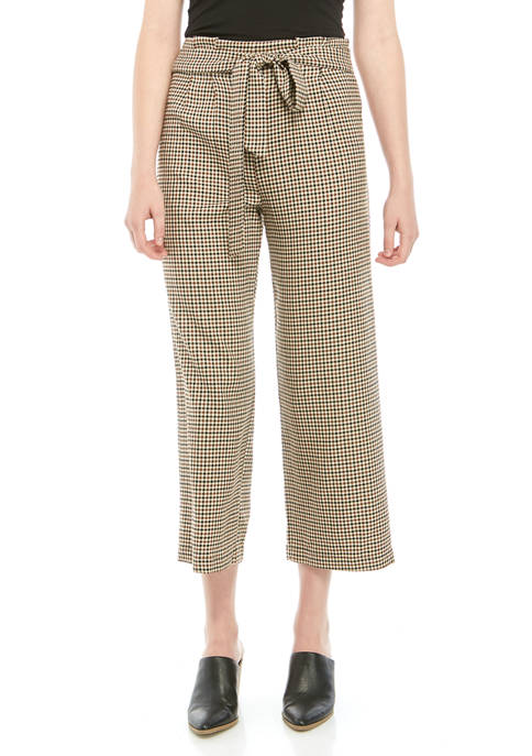 BeBop Womens Paperbag Plaid Print Pants