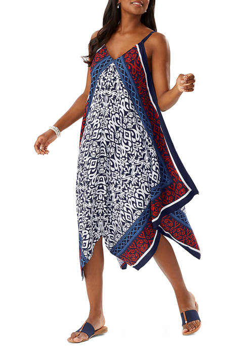 Ikat Diamonds Engineered Scarf Dress Swim Cover Up