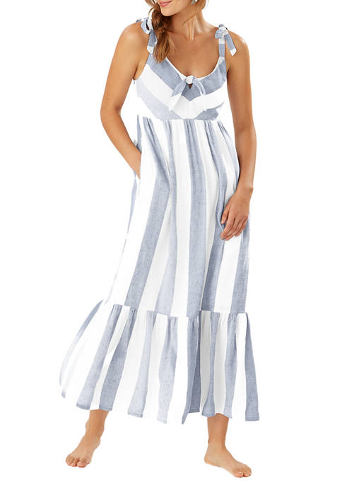 Rugby Beach Stripe Tie Front Maxi Dress Swim Cover Up
