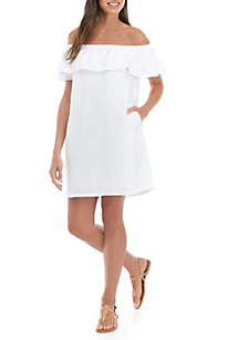 Tommy Bahama® Swim Linen Off the Shoulder Dress