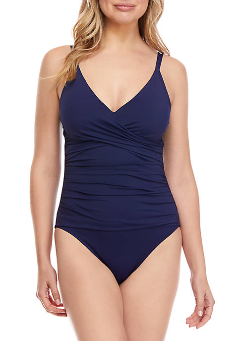 Pearl Over The Shoulder Cross Front One-Piece Swimsuit