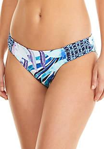 Aqua Petals Reversible Side Shirred Hipster Bottom