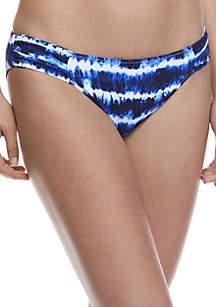 Tie Dye Striped Reversible Shirred Hipster Swim Bottom