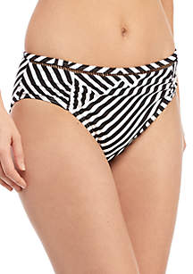 Tommy Bahama® Fractured Stripe High Waist Shirred Swim Bottoms