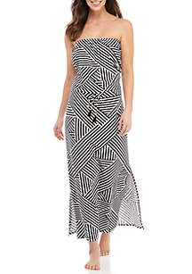 Tommy Bahama® Fractured Stripe Bandeau Maxi Swim Dress