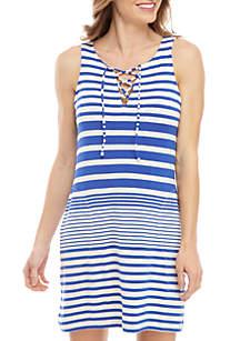 Tommy Bahama® Beach Glass Stripe Lace-Up Swim Dress