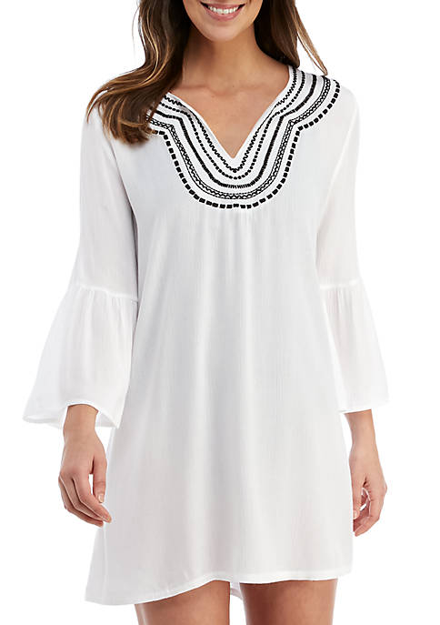 Tommy Bahama® Embroidered Bell Sleeve Swim Tunic