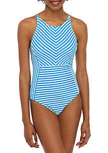 Tommy Bahama® Palm Party Stripe High Neck One Piece Swimsuit