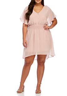 Plus Size Short Flutter Sleeve Button Front Chiffon Dress
