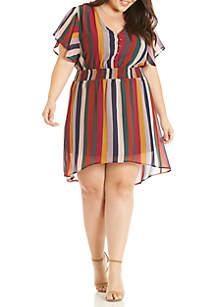 Plus Size Short Sleeve Chiffon Dress