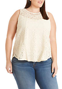 Plus Size Allover Lace Sleeveless Tank