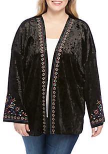 Plus Size Floral Border Kimono
