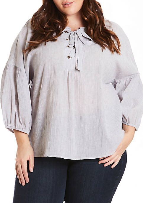 Eyeshadow Plus Size Lace-Up Bubble Sleeve Top