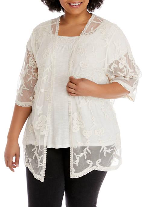 Eyeshadow Plus Size Lace Kimono
