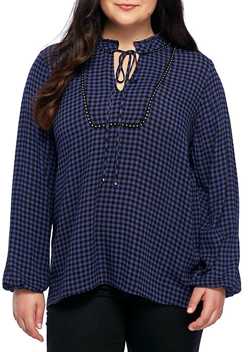 Eyeshadow Three-Quarter Sleeve Tie Neck Plaid Top With