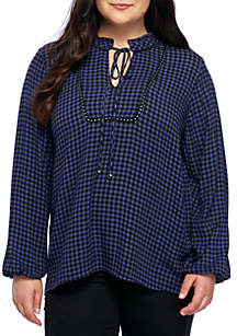Plus Size 3/4 Sleeve Tie Neck Plaid Top With Studs
