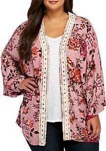 Plus Size Crochet Trim Kimono