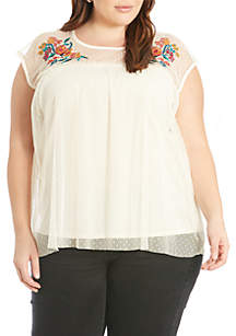 Plus Size Embroidered Sheer Top