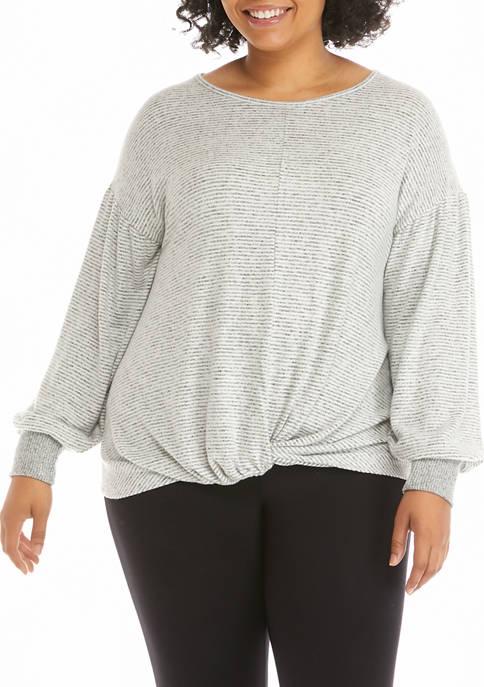 Plus Size Dolman Sleeve Twist Front Top