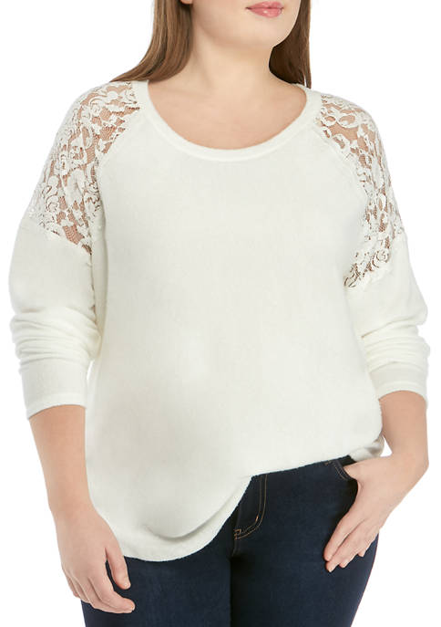 Eyeshadow Plus Size Long Sleeve Lace Detail Knit
