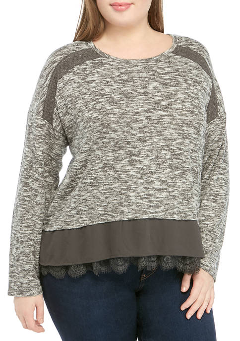 Eyeshadow Plus Size Long Sleeve Lace Hem Knit
