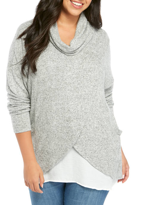 Eyeshadow Plus Size Long Sleeve Cowl Neck Wrap