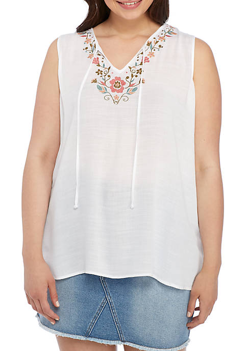Eyeshadow Plus Size Tie Front Embroidered Sleeveless Top