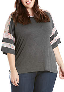 Plus Size Three-Quarter Sleeve Mesh Tee