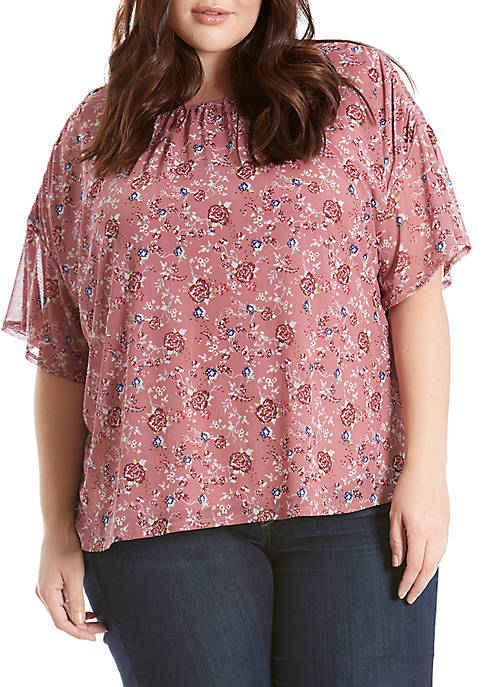 Eyeshadow Plus Size Printed Mesh Clinched Sleeve Top
