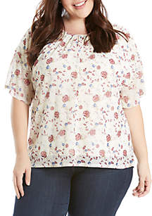 Plus Size Printed Mesh Clinched Sleeve Top
