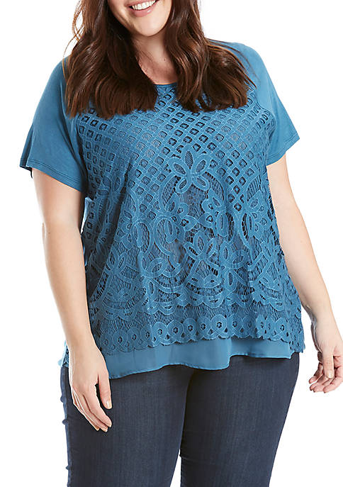 Eyeshadow Plus Size Lace Front Short Sleeve Knit