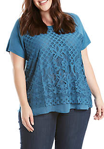 Plus Size Lace Front Short Sleeve Knit Tee