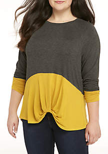88599bb80d7 Plus Size Long Sleeve Knot Front Colorblock Tee