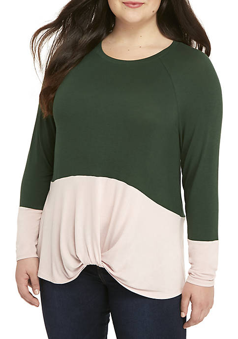 Eyeshadow Long Sleeve Knot Front Colorblock Tee