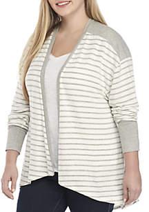Plus Size Stripe Knit Kimono