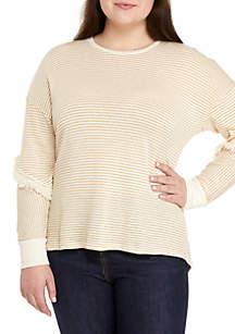 Eyeshadow Plus Size Long Sleeve Fringe Stripe Pullover