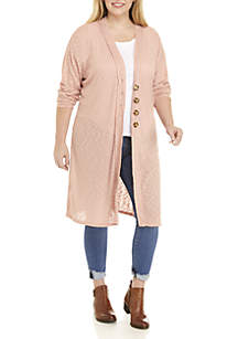 Plus Size Long Sleeve Button Down Cardigan